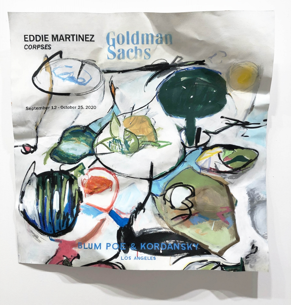 William Powhida_Eddie Martinez 2020_2018_acrylic, graphite and watercolor on paper mounted on aluminum,_89 x 89 cm_35 x 35 in_3000