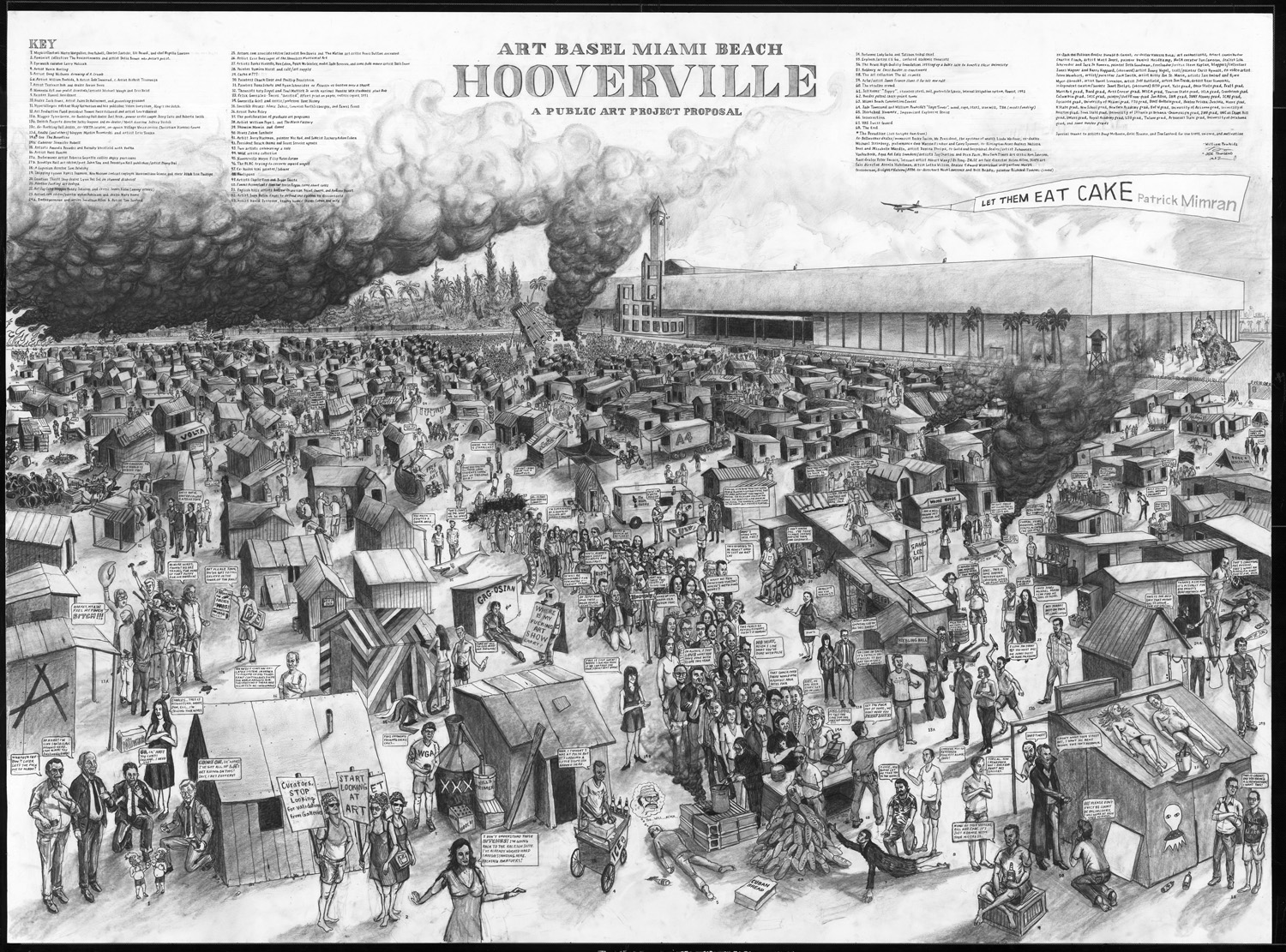 """ABMB Hooverville, 60"""" x 44"""", Graphite on paper, 2010 with Jade Townsend"""