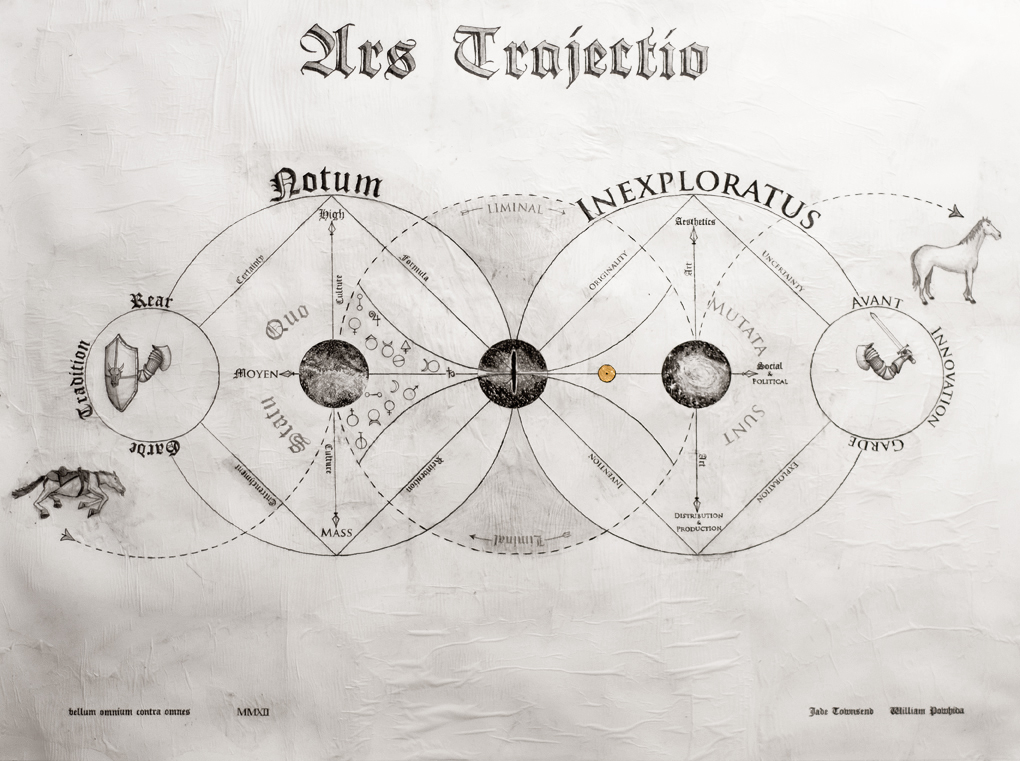 """Ars Trajecto, 45"""" x 34"""" graphite on paper, 2012 with Jade Townsend"""