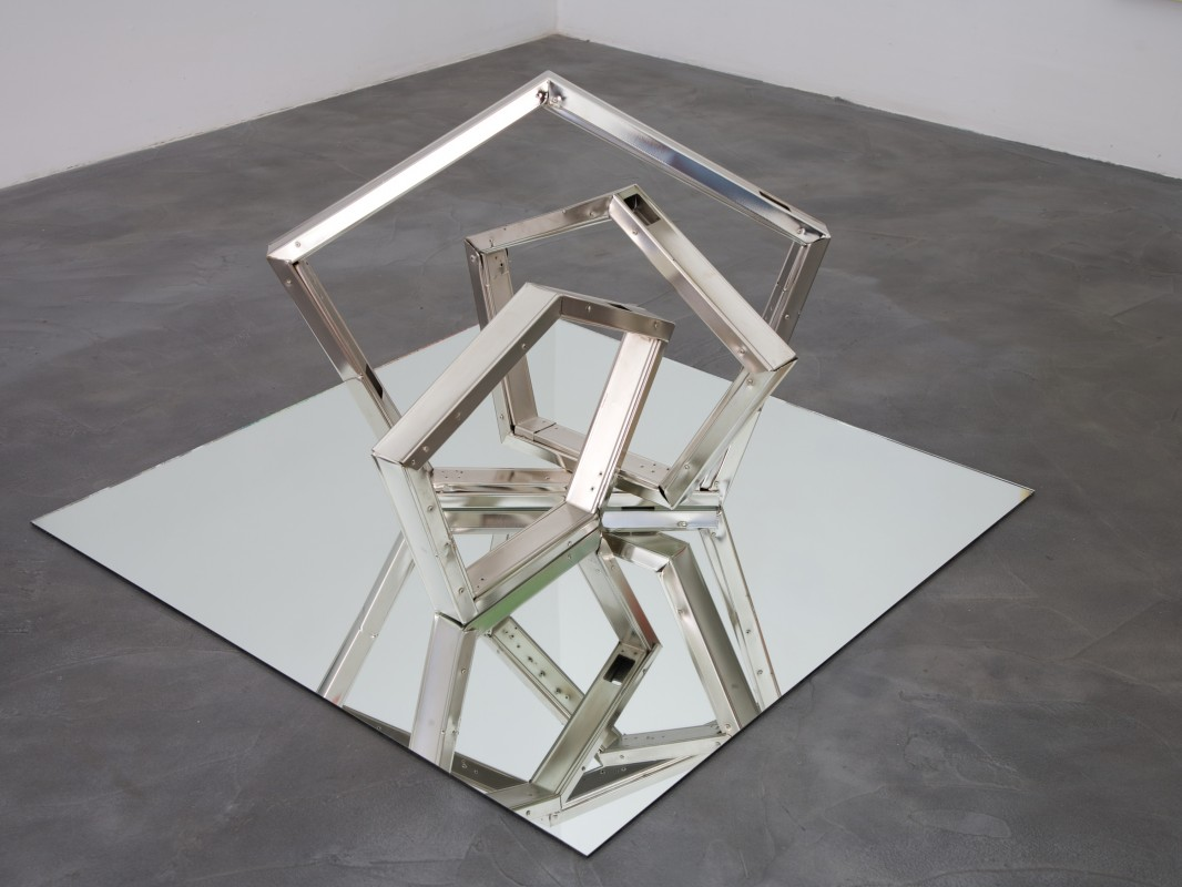 Mirror/steel sculpture: Mirror, nickel-plated drywall studs, 48 x 48 x 30 inches, 2013